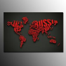FRAMED Canvas Print Poster Black Red World Map Painting Wall Art Home Decoration