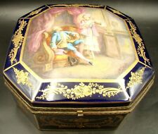 French Sevres Porcelain Jewelry Box Octagonal Gold & Cobalt Blue by  L. Bertren