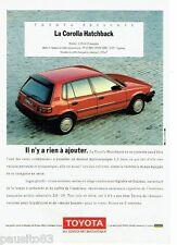 PUBLICITE ADVERTISING 116  1989  Toyota   la Corolla Hatchback