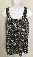 Banana Republic Women SZ XS  Black White Floral Print Sleeveless Tank Top Shirt