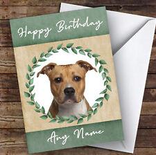 American Staffordshire Terrier Dog Green Animal Personalised Birthday Card