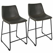 """OPEN BOX Duke 26"""" Industrial Counter Stool in Black with Grey Faux Leather an..."""