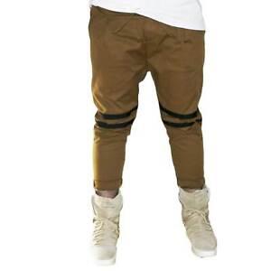 Pantaloni jogger marroni con elastico e coulisse e tasche laterali strappi sul g