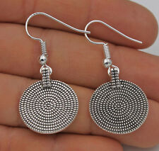 925 Silver Plated Hook - 1.5'' Bohemia Carved Round Retro Jewelry Earrings #61