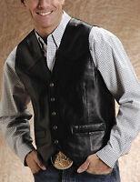 Roper Western Vest Mens Leather Vest Snap Size XL Black 02-075-0520-0500 BL