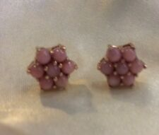 1.5 Ct, Peruvian Pink Opal Floral Earrings In Rose Gold On Sterling Silver