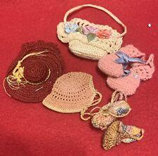 Lot Vintage Miniature Doll Basket Purse Basket Shoes & Hat Crochet Knit Material