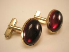 Red Cabochon Gold Tone Vintage Swank Quality Cuff Links crimson blood scarlet