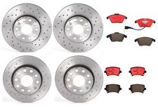 Front & Rear Brembo Brake Kit Drilled Disc Rotors Ceramic Pads For A3 Golf Jetta