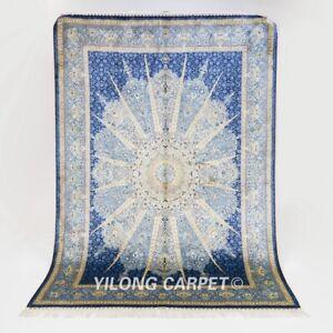 5x7ft Blue Vintage Silk Area Rug Hand Knotted Medallion Carpet Handcraft 229A