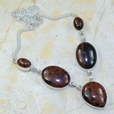 Natural Artesanal Obsidiano CAOBA PLATA DE LEY 925 Collar 49.5cm x63721