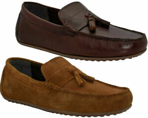 Mens Red Tape Leather Casual Slip On Loafer Moccasin Boating Deck Driving Shoes
