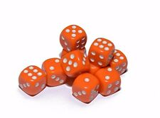 10 Orange Opaque Dice Set 16mm 6-Sided RPG Magic D&D Unique with White Pips Roll