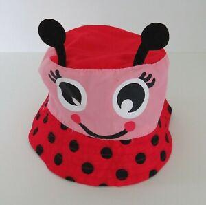 Ladybug Bucket Hat 3T Baby/Toddler Red Pink Black Felt Spots Circles #7