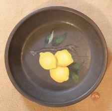 Antique Metal Pie Plate Baking Pan & Folk Art Painting of Lemons Tin Dish Tole