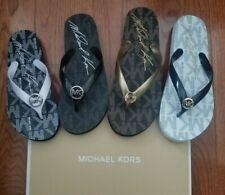 Michael Kors MK Logo Jet-Set Jelly Flip Flop Sandals shoes Black Gold White Pink