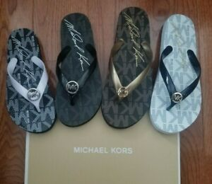 Michael Kors MK Logo Jet-Set Jelly Flip Flop Sandals shoes Black Gold White Pink