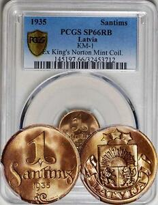 Latvia 1935 Proof Santims PCGS SP-66 RB - King's Norton Mint