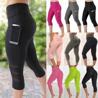 Women's Capri Yoga Pants Leggings With Pockets High Waist GYM Fitness Trousers S