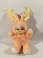 "1990 Mattel Magic Nursery Pet Bunny Rabbit Orange Peach Plush 11"" Star Nose"