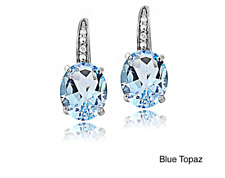 Blue topaz sterling silver drop earrings December birthstone gift 925 stone