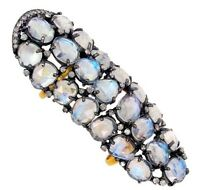 Rainbow Moonstone Knuckle Ring .925 Silver Pave Diamond 14k Gold Fine Jewelry BY