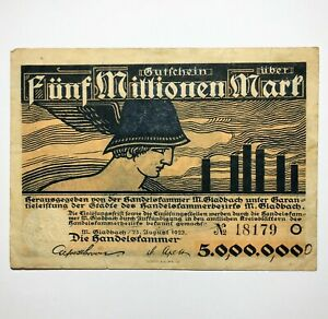 1923 Germany 5.000.000 Marks Hand Signed, Dated and Inscribed WW2