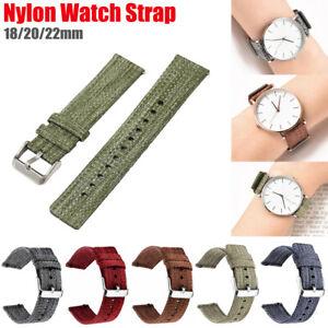 Starkes Nylonband Sport Loop Uhrenarmband Textil Stoff Uhr Ersatzband 18/20/22mm
