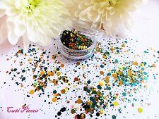 NAIL Art grosso * ATLANTIS * Oro Verde Giada Mix Forma Esagono Glitter Spangle Pot
