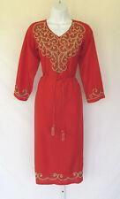 VINTAGE 1960s MOD SILK NYLON? DRESS RED BEADS METALLIC SOUTACHE TASSEL BELT