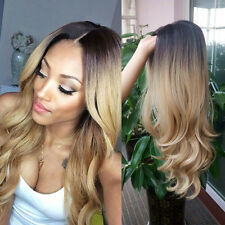 Women Ladies Blonde Ombre Hair Full Wig Fashion Style Long Curly Wigs Black Root