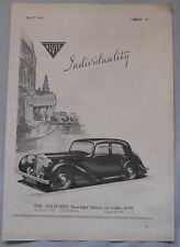 1946 Alvis Fourteen Four Light saloon Original advert No.3
