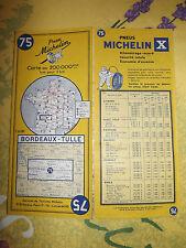 carte michelin 75 bordeaux tulle  1961