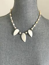 """New Faceted Beads and 3 pendants Mother Of Pearl 925 SS Necklace 18"""""""