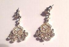 boucles oreilles percées argenté pampille avec solitaire cristaux diamant 2064