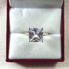 8.72ct White Cubic Zirconia 925 Sterling Silver Modern Solitaire Ring