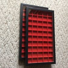 "Box of (2) 8 x 14-1/2"" Display Cases (Riker type) with Red Dividers - 50 squares"