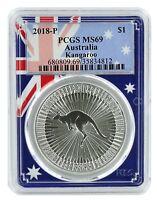 2018 Australia 1oz Silver Kangaroo PCGS MS69 - Flag Frame