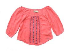 NEW HOLLISTER WOMEN PEASANT EMBROIDERED VISCOSE CROPPED TOP SHIRT TUNIC BLOUSE M