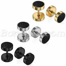 2pcs Mens Women Stainless Steel Carbon Fiber Barbell Dumbbell Ear Studs Earrings