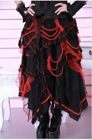 RQBL Lolita Gothic Goth Victorian Lace up Black and Red Long Skirt