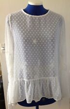 Atmosphere Ivory Cream Sheer Blouse with frill hem detail Size Uk 8