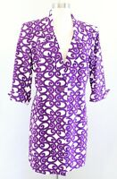 Lafayette 148 New York Purple White Geometric Print Long Jacket Car Coat Size 10