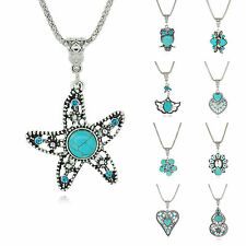 Women Tibetan Silver Vintage Turquoise Pendant Necklace Many Style For Choose
