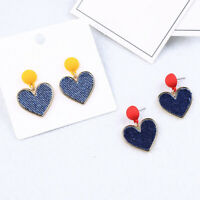 Retro Fashion Heart Ear Clip Female Cloth Small Stud Earrings  For  Girl Sweet