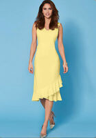 Kaleidoscope Lemon Frill Hem Slip Dress Women Ladies Midi Dress
