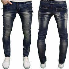Eto Mens Designer Branded Skinny Fit Biker Mid Stonewash Denim Jeans, BNWT