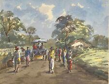 1/4 Impressionismus Aquarell Gemälde Passanten Mauritius Südsee Signatur? ~1950