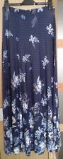 PER UNA M & S  NAVY WHITE FLORAL STRETCH JERSEY SUMMER MAXI SKIRT UK 8 NEW L39""
