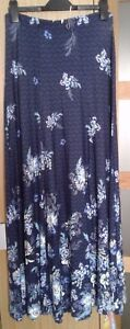 """PER UNA M & S  NAVY WHITE FLORAL STRETCH JERSEY SUMMER MAXI SKIRT UK 8 NEW L39"""""""
